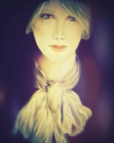 イケメンを模写してハロウィン風にアレンジ|両手で頬杖をつくアンニュイな女性