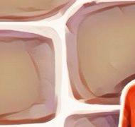 赤い服の女の子のバックのレンガ