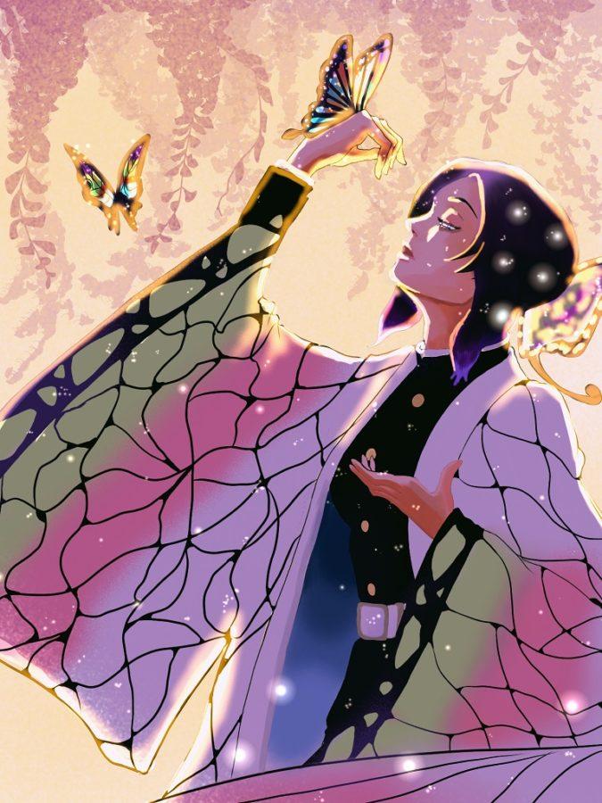 幻想的な雰囲気の胡蝶しのぶ|大人気マンガ「鬼滅の刃」のアレンジ模写