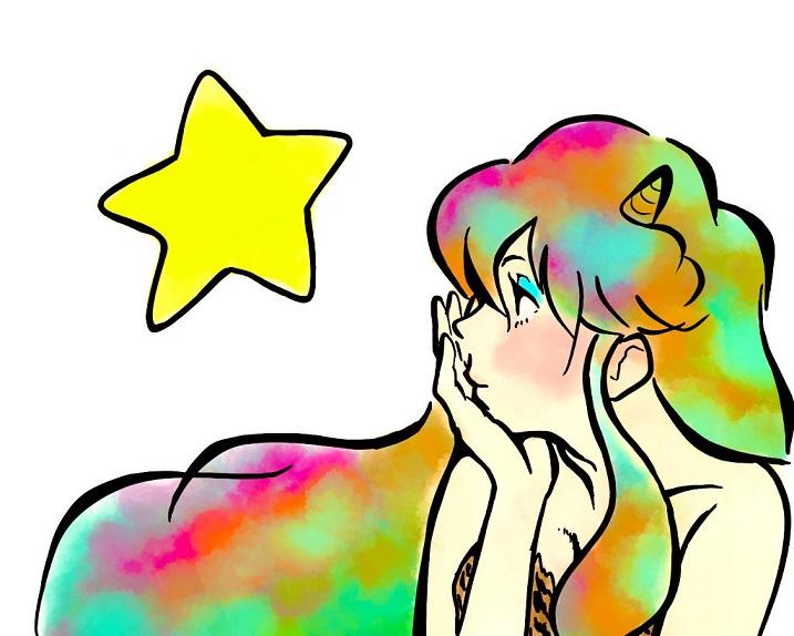 カラフルにアレンジした、うる星やつら『ラムちゃん』『舞妓Haaaan!!!』風イラスト
