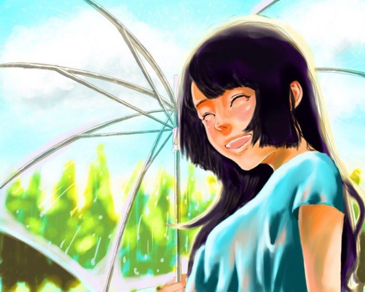 天気雨の少女の絵