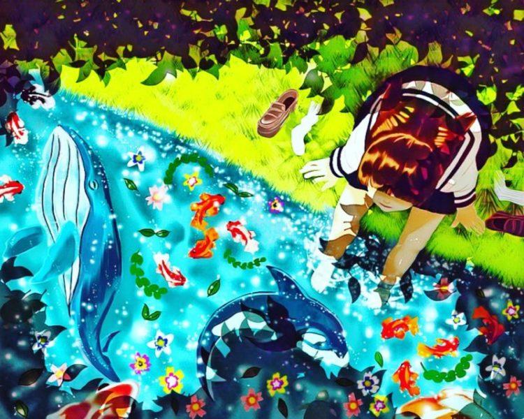ipad (第6世代)で描いた絵画風イラスト|『川に足を浸して涼む少女』『笑顔で傘をさす少女』
