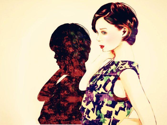 化粧品のポスターっぽい雰囲気の美女イラストをセピアカラーで描いた