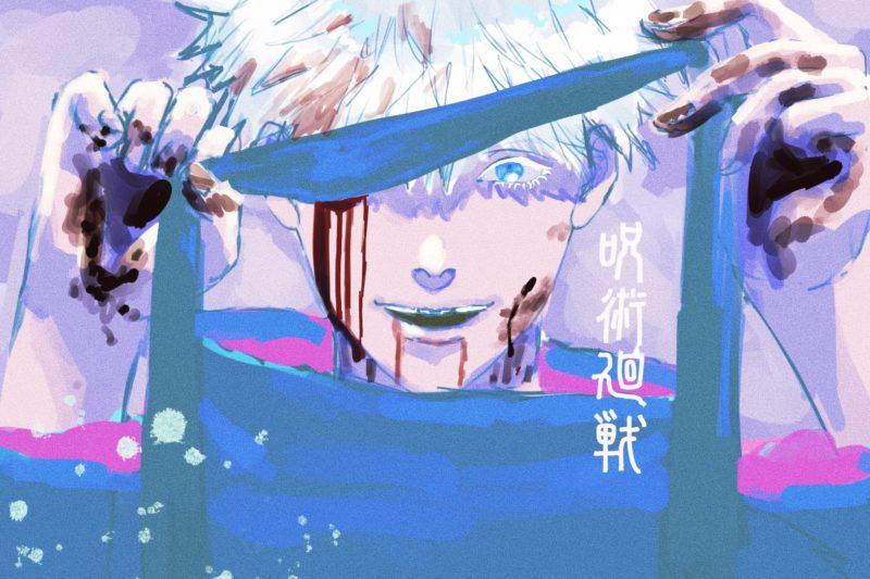 呪術廻戦の最強呪術師「五条悟」が血まみれ?で不敵に笑うイメージで模写しました!