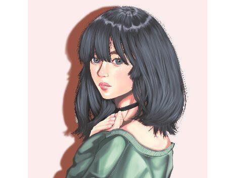 モンタージュ的にモデルの顔を合成!|嫁画伯が描いた緑色のトレーナーの女の子