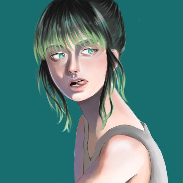 【青緑】自由をイメージして描いた、モデル風のスタイリッシュな女性|色彩心理