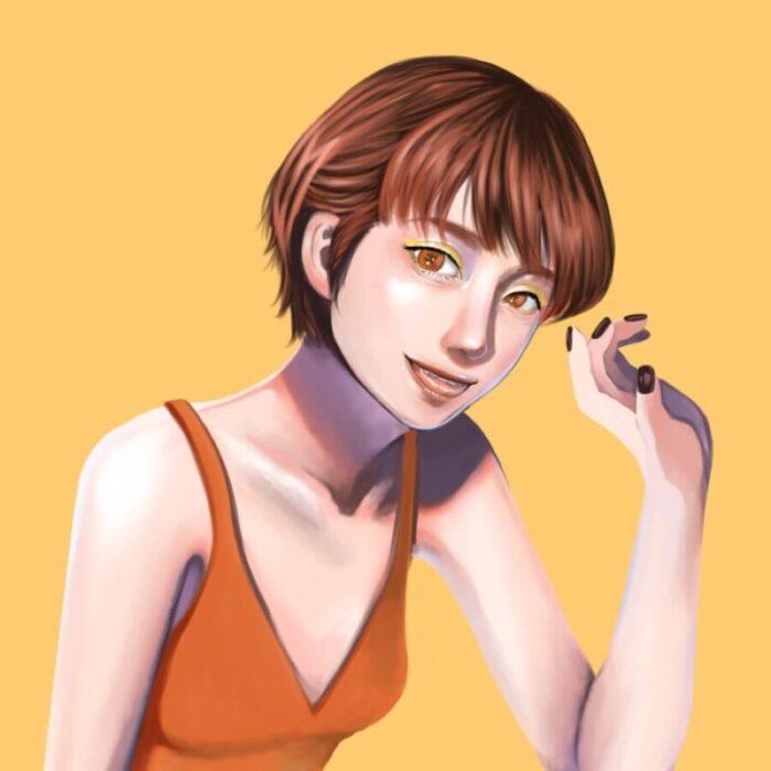 【オレンジ】元気・活発・陽気・社交的をイメージした女の子|色彩心理