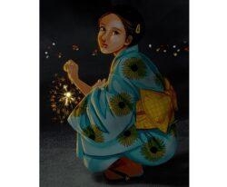 嫁画伯が描いた「線香花火と女の子」|お絵かきソフトはプロクリエイトを使用