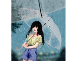 「雨の中、傘を差す女の子」|嫁画伯のデジタルイラスト